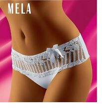 White briefs by wolbar  with lacey frill panel & bow  by Wolbar. S - M