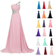 One Shoulder Long Chiffon Bridesmaid Formal Party Cocktail Evening Prom Dresses