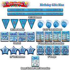 BIRTHDAY PARTY DECORATIONS Blue glitz banners bunting balloons confetti strands