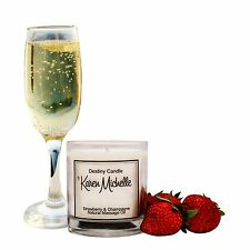Strawberry & Champagne Scented Massage Oil Candle - Destiny Candle with Jewelry