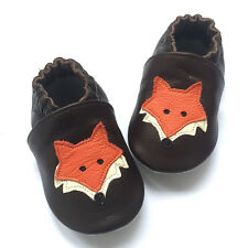 Fox Soft Sole Leather Baby Shoes Toddler Indoor Non-Slip Crib Shoes 6-24M
