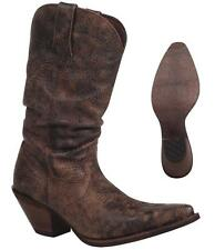 "NEW Durango Boots CRUSH Women's Brown 11"" SLOUCH Leather Western Cowboy RD3553"