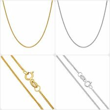 "14K Solid Yellow & White Gold 1mm Square Wheat Chain Necklace 16""- 20"""