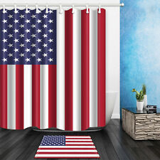 """American Flag Independence Day Waterproof Fabric Shower Curtain & Bath mat 71"""""""