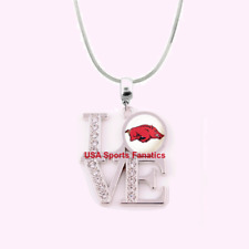 NCAA Arkansas Razorbacks 925 Sterling Silver Team Love Necklace With Rhinestones