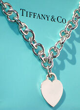 Tiffany & Co Sterling Silver Heart Tag Charm Choker Necklace