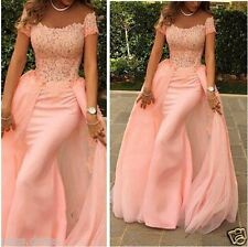 Sexy Mermaid Chiffon Lace Pageant Evening Dress Party Formal Celebrity Prom Gown