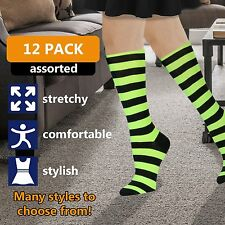 12 Pairs of WSD Womens Knee High Socks Assorted Colors, Cotton Boot Socks