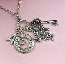 Personalised ALICE in WONDERLAND Necklace INITIAL Letter Silver GIFT Idea Unique