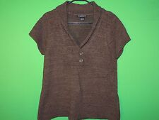 August Silk Women's Size L Large Half Button Short Slv Shirt / Top