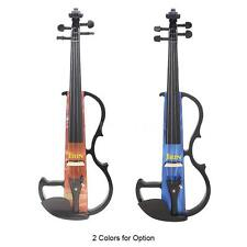 Full Size 4/4 Electric Violin Beginner Gift+Earphone Cable Case Blue Orange Q1J0