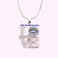 NFL San Diego Chargers 925 Sterling Silver Team Logo Love Necklace W/Rhinestones