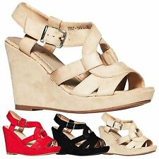 Corsica Womens High Heels Wedges Platforms Sandals Ladies Shoes Peep Toe Strappy