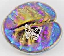 Neo Art Glass iridescent oil Lily pad paperweight & silver adornment by K.Heaton