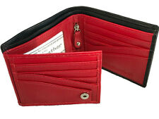 NEW Mens Real Leather wallet♡12 Card slots♡ID♡Bifold♡Side flap♡Genuine Cowhide