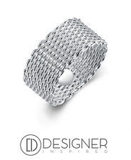 Silver Mesh Woven Ring Wide Band Sterling 925 Size N P L T S Designer Inspired