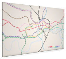 London Map Text Tube Lines Box Canvas and Poster Print (88)
