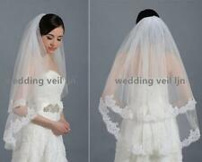 2 Tiers bridal wedding veil White/ivory elbow lace 2 layers wedding veil+comb