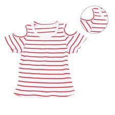 0-2Y Baby Girl Kids Off-Shoulder T-shirt Cotton Striped Top Dress Summer Clothes