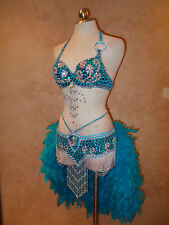 Gatsby Samba Vegas Showgirl Feather Burlesque Mardi Gras Costume 2pc