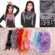 Lace Sheer Floral Print Triangle Veil Church Mantilla Scarf Shawl Wrap Tassel BG