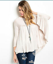 EDG SOLID SAND BEIGE RAYON VISCOSE CASUAL DRAPE BATWING SLEEVE TOP BLOUSE L NEW
