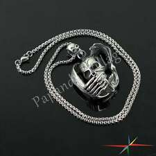 Retro Punk Mens Evil Demon Skull Cross Cool Pendant Chain Necklace Chrome Gifts