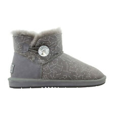Ugg Boots Sheepskin Crystal Button Ankle Boot  - AUZLAND BAMBI Grey Ladies Size