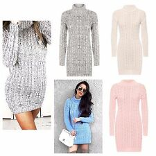 ladies womens Long Sleeve Cowl Polo Neck Cable Knitted Jumper Dress Top 8-26