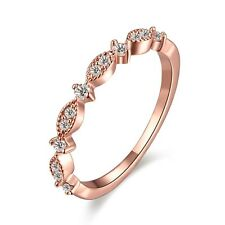 18K Rose Gold Filled Women Rings Fashion Band Wedding Jewelry