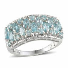 Madagascar Paraiba APATITE Cluster RING in Platinum / Sterling Silver 2.20 Cts.