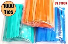 "1000 Twist Ties 4"" Length Plastic Coated No Rip Paper Ties Cello General Use"
