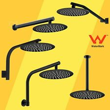 WELS Round Thin 8/10/12 Inch Rainfall Shower Head Rose Wall Arm Set Matt Black