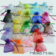 Hot 50Pcs/Bag 7x9cm 24 Colors Jewelry Holder Organza Bags Wedding Gift Pouches