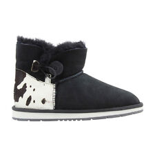 Ugg Boots Sheepskin Cow Button Ankle Boot  - AUZLAND BARBRA Black Ladies Size 7-