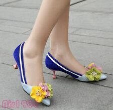 Lady Womens Leather Sexy High Heels Pointy Toe Pumps Flower Dating Shoes US Size