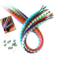 12 Strands Synthetic Straight Multi-Color Grizzly Rooster I Tip Hair Extensions