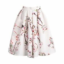 New Vintage Hot Sale Lolita High Waisted  Apricot Floral Print Pleated Skirt