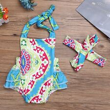 2PCS Infant Baby Girls Floral Backless Halter Ruffled Summer Romper Bodysuit
