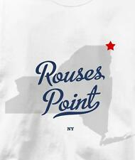 Rouses Point, New York NY MAP Souvenir T Shirt All Sizes & Colors