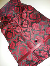 Mens Sangi 1002 Victorian Nehru Collar French Cuff Shirt Red Black Renaissance