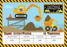 DIGGER JCB CONSTRUCTION BUILDER BOYS BIRTHDAY PARTY INVITATIONS INVITES KIDS