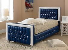 Blue Leather Bed With Memory Foam Mattress, Bed Frame In Single Double King Size