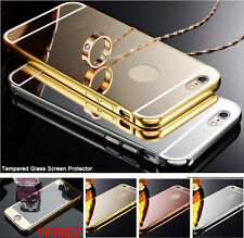 Aluminum Metal Mirror Case + Tempered Glass Screen Protector For iPhone 6S /Plus
