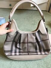 BURBERRY BROOKLYN SMOKED NOVA CHECK CANVAS LEATHER SHOULDER HOBO HANDBAG
