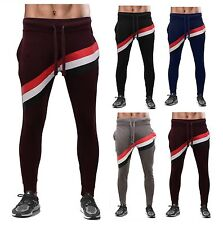 ROCKBEERY New Mens Stripe Joggers, Tracksuit Bottoms, Track Sweat Jogging Pants