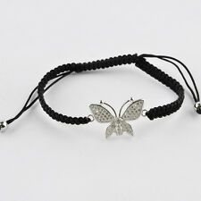 Butterfly Micro Pave Brass Beads Macrame Bracelet Adjustable Wrist Wrap Jewelry
