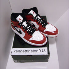 NEW 2003 NIKE AIR JORDAN 1 I RETRO PATENT LEATHER WHITE BLACK VARSITY RED SIZE 9