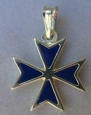 Hallmarked Sterling Silver Maltese Cross pendant with ONYX NEW STYLE