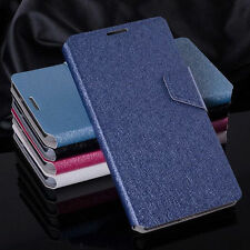 Luxury PU Leather Silk Grain Flip Wallet Case Cover For HTC Various Models